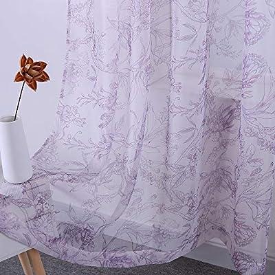 HOLKING Rod Pocket Printed Sheer Curtains