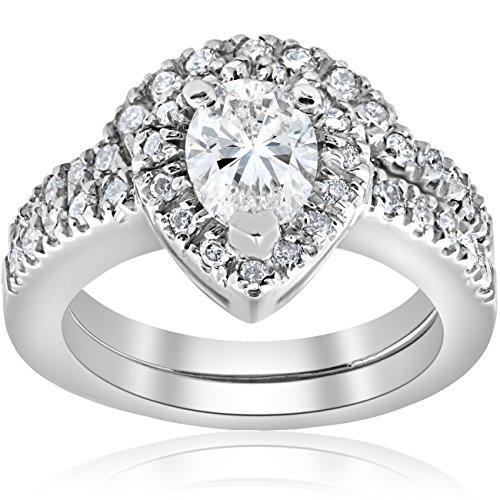 1 1/4ct Fancy Pear Shape Diamond Engagement White Gold