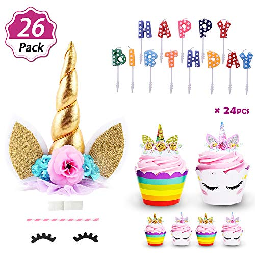 DaisyFormals Unicorn Cake Topper with 24 Pcs Unicorn Cupcake Toppers Wrappers + Happy Birthday Candles, Best Party Supplies for Unicorn Party & Birthday Party