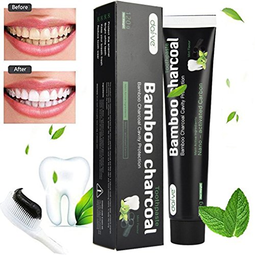 Price comparison product image FirstFly Activated Charcoal Teeth Whitening Toothpaste, Natural Coconut Tooth Whitener Product Black Bamboo Tooth Paste, Remove Stain & Eliminates Bad Breath (White-4.02oz)