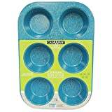 casaWare Toaster Oven 6 Cup Muffin Pan NonStick Ceramic Coated (Blue Granite)