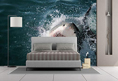 Large Wall Mural Sticker [ Shark,Wild Animal in The Sea Attacking Showing The Mouth and Teeth Scary Print Decorative,Petrol Blue Grey White ] Self-Adhesive Vinyl Wallpaper/Removable Modern Decoratin ()