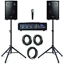 Alesis PA System in a Box Bundle| 280-Watt (80 80 Watts Continuous) 4-Channel PA System with Microphone and Speaker Stands