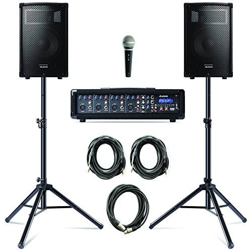- Alesis PA System in a Box Bundle| 280-Watt (80 80 Watts Continuous) 4-Channel PA System with Microphone and Speaker Stands