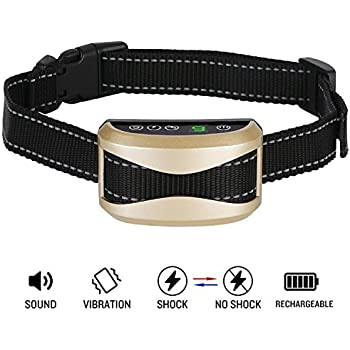 Bark Collar Casfuy Upgrade 7 Sensitivity Rechargeable Humane Dog No Bark Collar with Vibration and No Harm Shock for Small Medium Large Dog