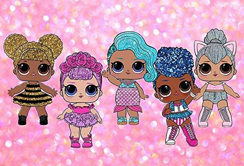 Pink Glitter Birthday Backdrops for Photography 7x5ft Sequins Dolls Girls Photography Backgrounds Desktop Baby Girl 1st Birthday Vinyl Studio Backdrops]()