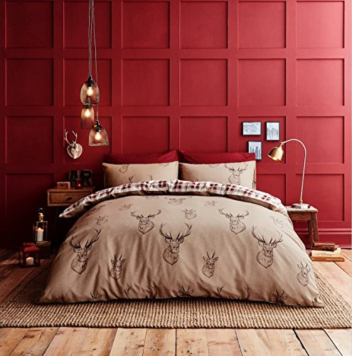 RED DEER TARTAN PLAID HIGHLAND COTTON REVERSIBLE USA FULL (COMFORTER COVER 200 X 200 - UK DOUBLE) (PLAIN WHITE FITTED SHEET - 137 X 191CM + 25 - UK DOUBLE) 4 PIECE BEDDING SET