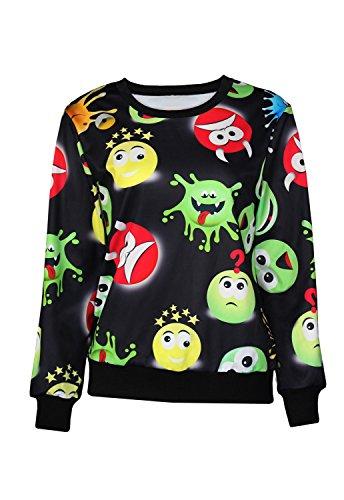 Neue Damen Schwarz Cute Emoji-Print Jumper Sweatshirt Top Club Wear Kleidung Größe UK 10�?2UK 38�?0