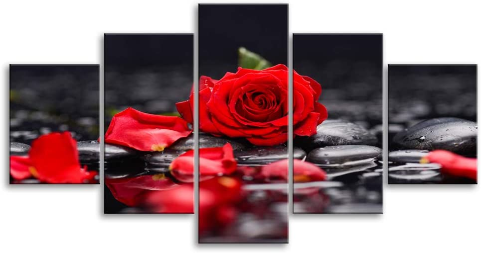 """Red and Gray Rose Flower Canvas Print Wall Art Floral Home Decor Plant Pictures 5 Panels Poster for Bedroom Living Dining Room Kitchen Bathroom Painting Framed Ready to Hang (60""""Wx32""""H, Artwork-U)"""