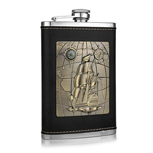 GENNISSY Pocket Hip Flask 8 Oz with Funnel - Stainless Steel withLeather Wrapped Cover and 100% Leak - Silver Wayfarer Cross