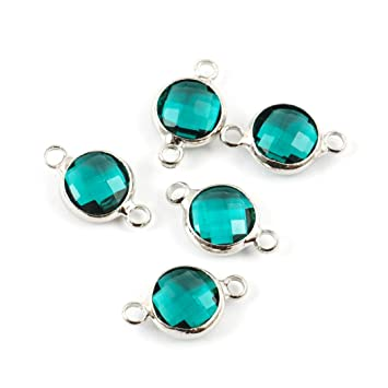 20PCS silvering Earrings Crystal bright green Jewelry Findings Connectors
