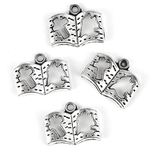 - Monrocco 100 Pcs Antique Silver Holy Bible Book Charms Religious Christian Cross Dove Bible Charms for Bracelets Necklace Jewelry Making