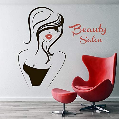 Hair Salon Vinyl Wall Sticker Beauty Girl Face Eyes Lips Removable Decal Hairdresser Hairstyle Decoration Poster 57x61cm