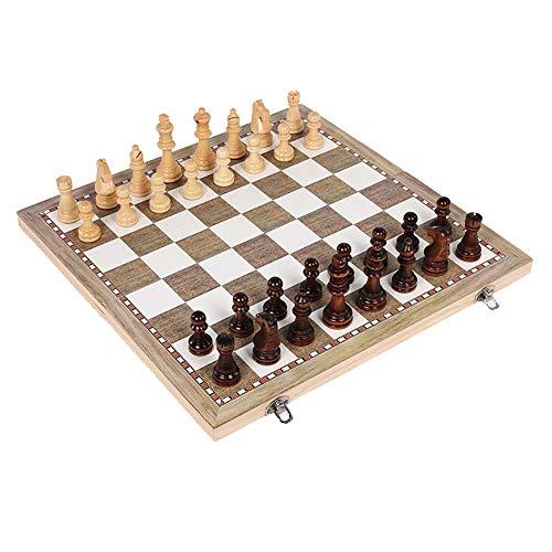Juego de mesa plegable de ajedrez Ajedrez Set de Viaje 3 en 1 Ajedrez Backgammon Damas fijado for adultos de los niños…