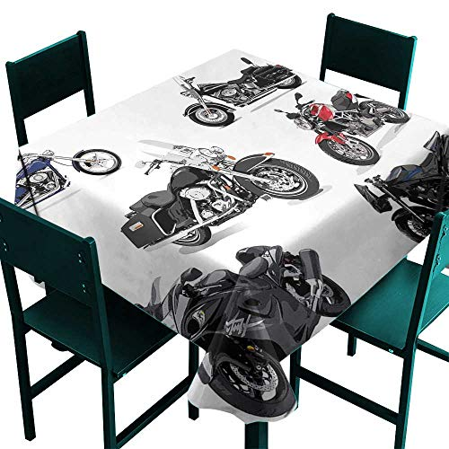 (ScottDecor Motorcycle Fabric Tablecloth Unique Original Motorcycles Set Freestyle Action Life with Winged Wheels Hobby Print Multi Tablecloth for Square Table W 60