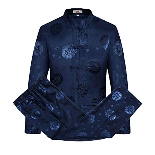 Tang Suit Men Traditional Chinese Clothing Suits Hanfu Cotton Long Sleeved Shirt Coat Mens Tops and Pants (Navy Blue, XL)