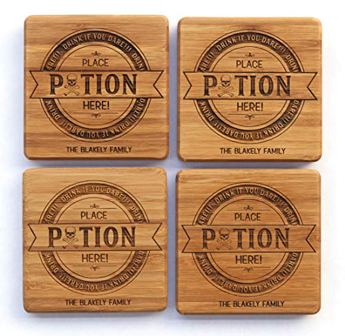 Personalized Halloween Decorations Kitchen Dining Wood Coasters - Unique Table Holiday Decor (1 Coaster, Halloween Potion Design) ()
