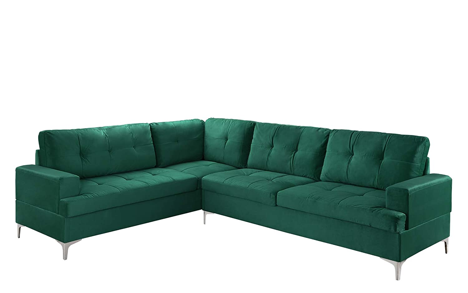 Classic Large Tufted Velvet Sectional Sofa, Living Room L-Shape Couch  (Green)