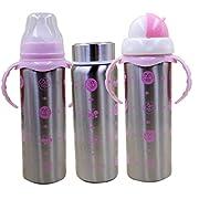 Mily Natural Baby Bottle Flow Bottle Newborn Feeding Set Breastmilk Bottle Set-Multifunctional BPA Free Vacuum Sealed Thermal Stainless Steel Pink