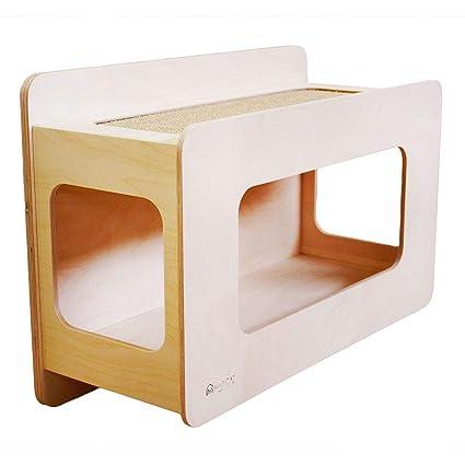 Rifugio Comfort 60 – Rifugio Caseta de pared para gatos. De madera de abedul natural