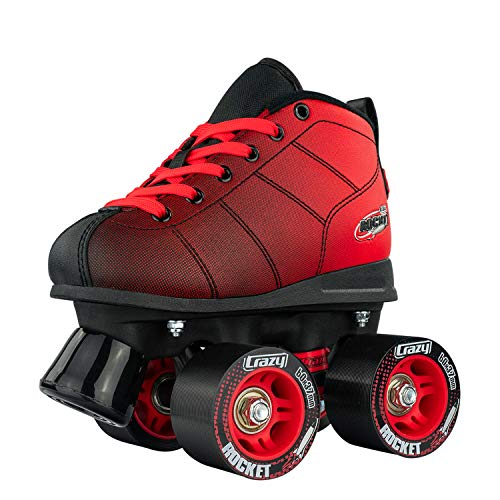 Crazy Skates Rocket Roller Skates for Boys and Girls - Great Beginner Kids Quad Skates - Black/Red Patines (Size Jr12) ()
