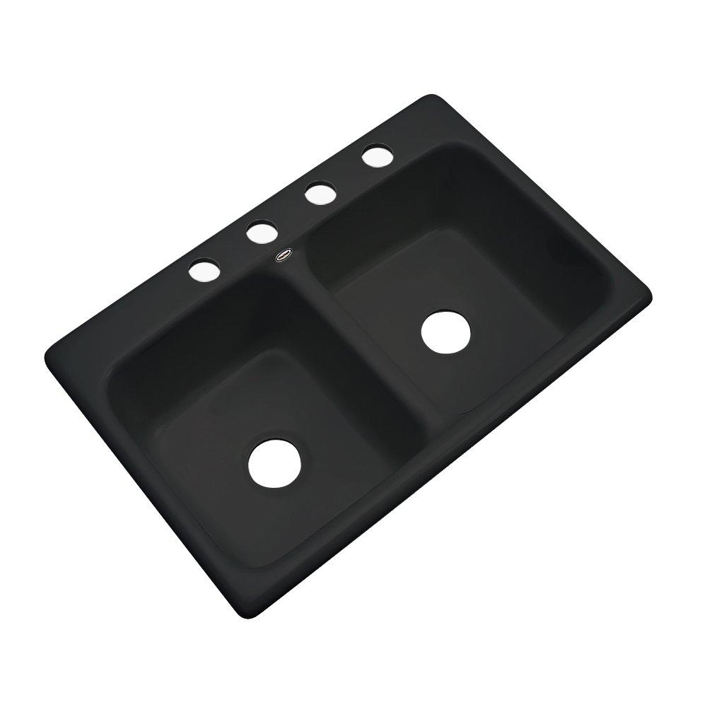Dekor Sinks 50499 Westport Double Bowl Cast Acrylic Kitchen Sink-4 Hole, 33'', Black