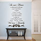 GECKOO Family House Rules - We Thank God For Our Blessings We Give Hugs and Kiss -Home Living Wall Decal (Custom, Small)