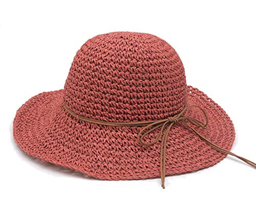 Women's Wide Brim Caps Foldable Fashion Summer Beach Sun Straw Hats (red) (Summer Red Straw)