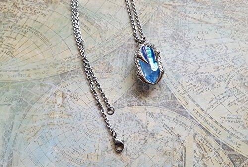 Aqua Aura Quartz Necklace, aqua aura quartz, Crystal Claw Necklace, Crystal Jewelry, Steampunk jewelry, steampunk necklace, claw necklace