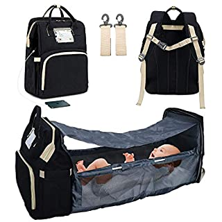 3 in 1 Travel Bassinet Foldable Baby Bed Portable Diaper Changing Station Mummy Bag Backpack Black