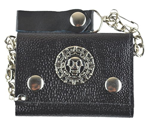 MM Men's Circle Skull Leather Trifold Wallet Pocket Chain ()
