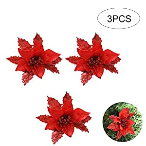 Hilai Pack of 3 Glitter Artificial Flower Christmas Tree Flowers Wedding Decor Ornaments Poinsettia Prop 6.7inch (Red) 42
