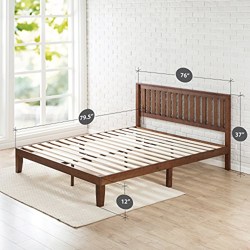 Zinus 12 Inch Wood Platform Bed with Headboard / No Box Spring Needed / Wood Slat Support / Antique Espresso Finish, King