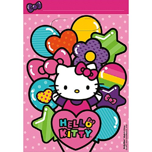 Adorable Hello Kitty Rainbow Birthday Party Favours Folded Loot Bag (8 Pack), Pink, 9