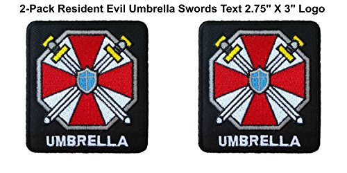 Umbrella Corps Costume ((2-Pack) Resident Evil Umbrella Corp Swords with Text Logo Iron/Sew-On Embroidered 2.75