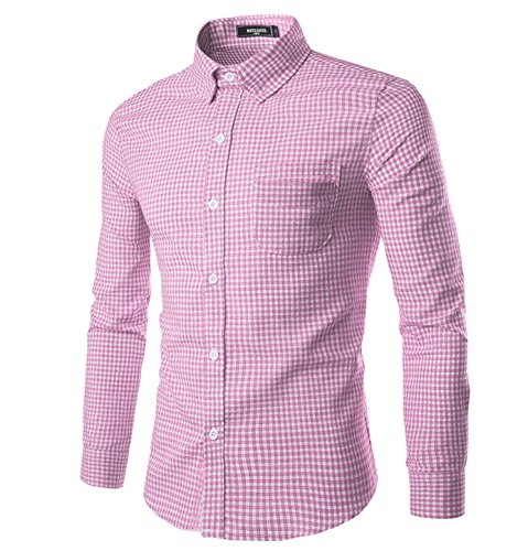 NUTEXROL Men Plaid Cotton Casual Slim Fit Long Sleeve Button Down Dress Shirts Pink X-Small