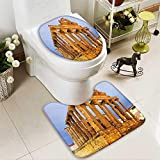 aolankaili U-Shaped Toilet Mat ancient temple of Diana in dawn Merida,Spain 2 Pieces Microfiber Soft