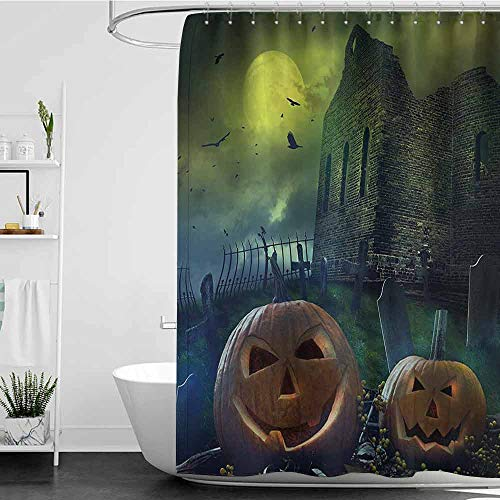 homecoco Shower Curtains for Bathroom Sets Halloween Decorations,Pumpkin in Spooky Graveyard in Old Stone Haunted House in Dark Night,Grey Yellow W72 x L84,Shower Curtain for Kids -