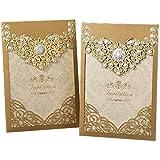 amazon com 25pcs glittper paper gold diy laser cut gatefold wedding