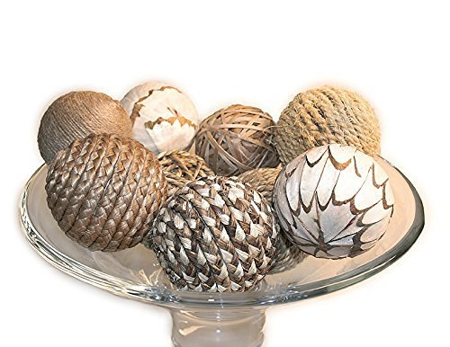 Jodhpuri 9 Piece Decorative Spheres, Natural Multi (Home Decor Balls)