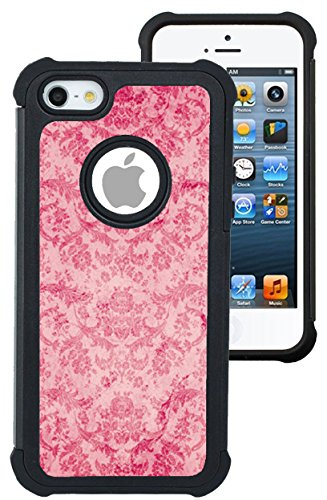 CorpCase iPhone 5 Case / iPhone 5S Case / iPhone SE Case - Vintage Pink Damask/ Hybrid Unique Case With Great Protection