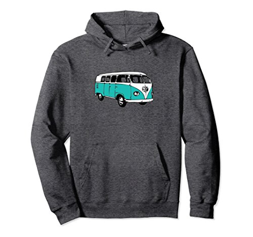 Unisex Vintage 1960's Van Teal Microbus Hoodie Sweatshirt Large Dark Heather