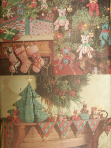 Christmas Mantle Cover Stocking Bear Tree Skirt Centerpiece Butterick 5783 Sewing Pattern