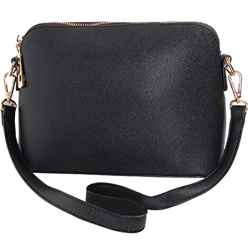 Humble Chic Saffiano Convertible Handbag - Mini Vegan Leather Structured Zip Shoulder Purse or Crossbody Bag, Black ()