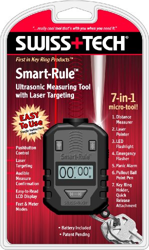 Swiss+Tech SRTWCR-PS Smart-Rule 7-in-1 Ultrasonic Measure with Laser Targeting, Window Gift Box, Outdoor Stuffs