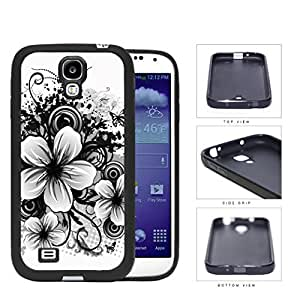 Black And White Floral Sketch Design Rubber Silicone TPU Cell Phone Case Samsung Galaxy S4 SIV I9500 by icecream design