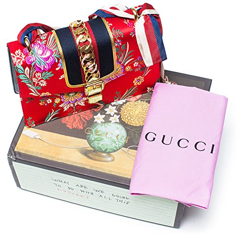 Gucci-Sylvie-Red-Jacquard-Floral-Tokyo-Silk-Small-Bag-Ribbon-Leather-Handbag-New-Box