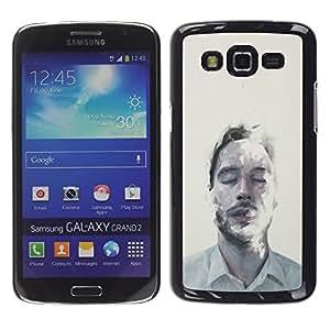 """For Samsung Galaxy Grand 2 II Case , Hombre Retrato Cara Mist Arte Ojos Cerrados"""" - Diseño Patrón Teléfono Caso Cubierta Case Bumper Duro Protección Case Cover Funda"""