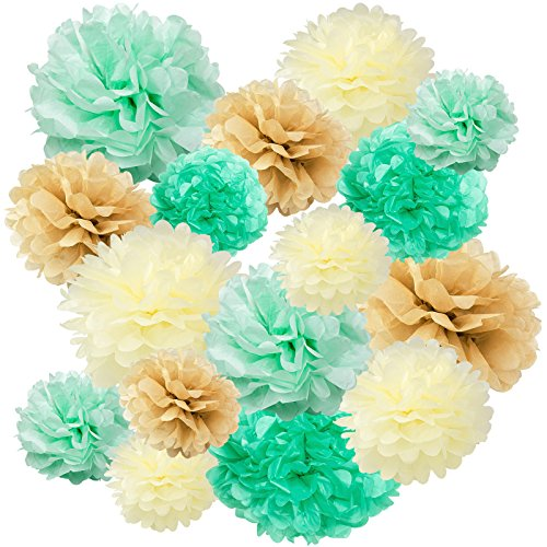 Floral Reef Variety Set of 16 (Assorted Mint Seafoam Green Cream Tan Color Pack) consisting of 8