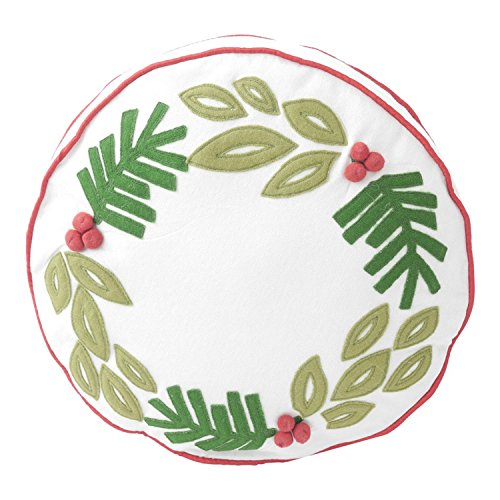Hallmark Home Decorative Throw Pillow with Insert (14 inch), Holiday Wreath Applique Round with Red Piping